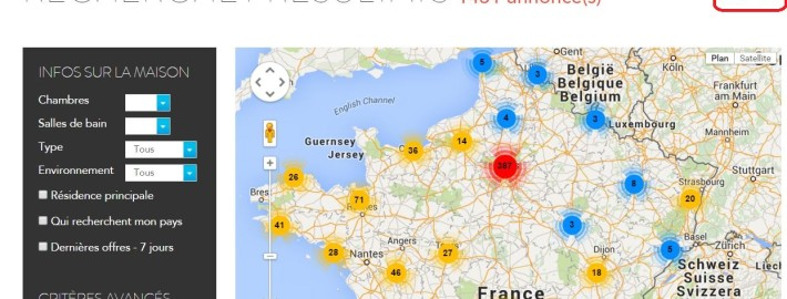 Possibilité de voir les annonces sur une carte